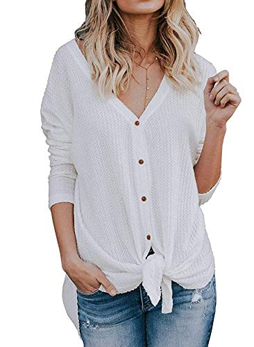 Womens Waffle Tunic Knit Blouse Tie Knot Henley Tops Long Sleeve Loose Fitting Button Down Henley Shirts