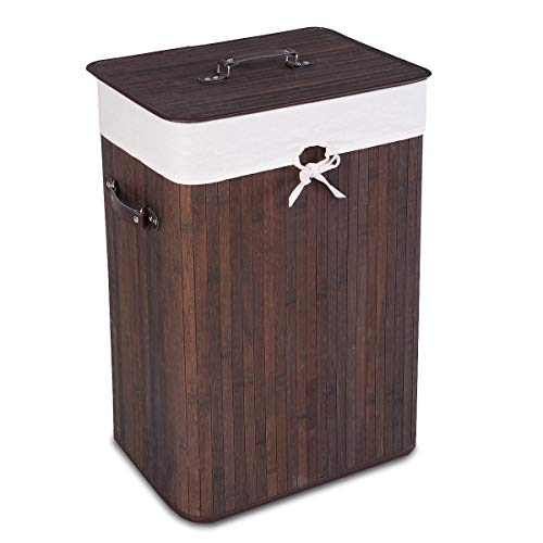 Giantex Laundry Hamper Bamboo Rectangle Basket Washing Cloth W/Bin Rangier Lid Laundry Basket Laundry Basket (Brown) (Wicker Washing Baskets)