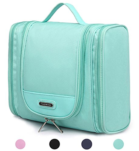 Portable Travel Organizer Makeup Cosmetic for Women Men (2 Side Pockets Green) (Two Zippered Main Pockets)