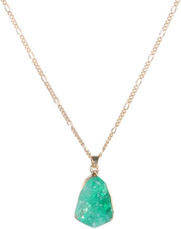 Collar De Mujer,Colores Verdes Geometría Minimalista Colgante De Piedra Clásico Moda Damas Collares Glamour Chica Vintage Oro Color Gargantilla Estilo Bohemio Joyería Aniversario