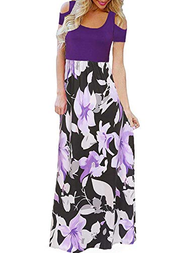 Kancystore Womens Short Sleeve Plus Size Long Maxi Dress with Pockets Loose Casual Summer Dress