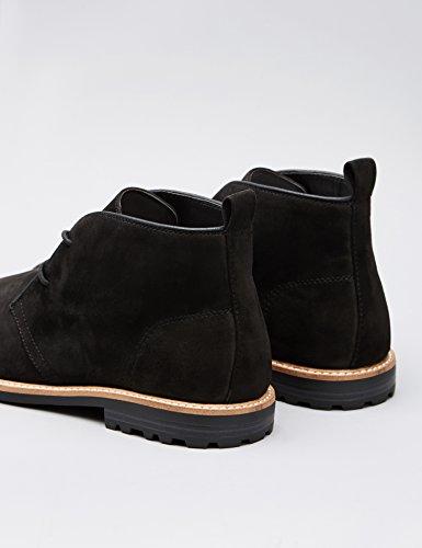 FIND Desert Boots Herren Rahmengenäht, Aus rauem Kunstleder Schwarz (Black)