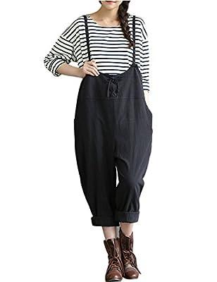Yeokou Women's Linen Wide Leg Jumpsuit Rompers Overalls Harem Pants Plus size