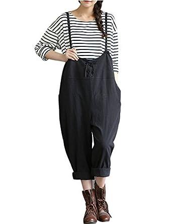 ec12a6f5844 Yeokou Women s Linen Wide Leg Jumpsuit Rompers Overalls Harem Pants Plus  size 60%OFF