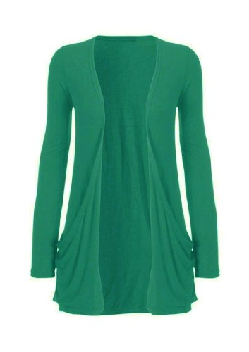 Hot Hanger Ladies Plus Size Pocket Long Sleeve Cardigan 16-26 (16-18 LXL, Green)