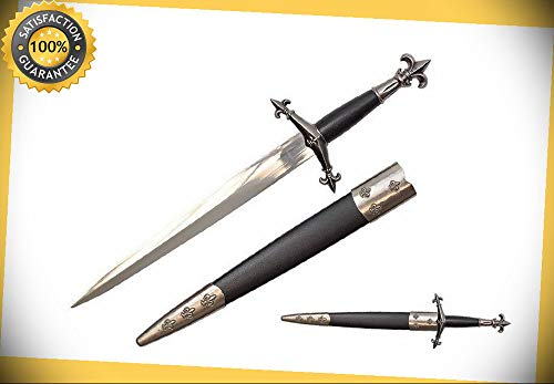 15'' Medieval Knight Fleur De Lis Historical Dagger Short Sword with Scabbard NIB perfect for cosplay outdoor -