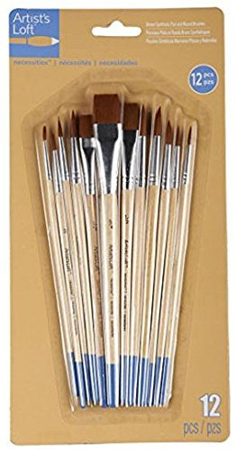 Artists Loft Necessities Brown Synthetic Flat & Round Brushes by Artists Loft