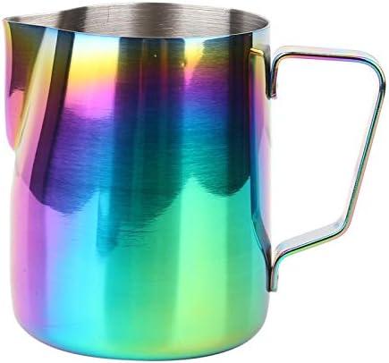 Jarra para hacer espuma de metal Taza de espuma para café de acero inoxidable, vertedor para leche, taza para hacer espuma, bebidas para vino(350ML)