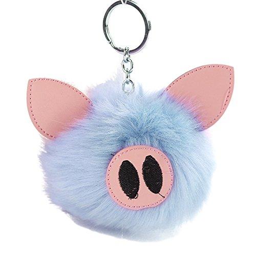 Softmusic Fluffy Ball Keychain Lovely Pig Pendant Women Girls Bag Embroidered Key ()