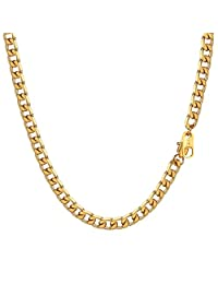 Miami Cuban Curb Link Chains Mens Necklaces 18k Gold Plated 4mm/6mm/8mm/13mm Wide 316L Stainless Steel Chain Jewelry 18k Gold/Black Gun Plated Necklace Women 18''/20''/22''/24''/26''/28''/30''