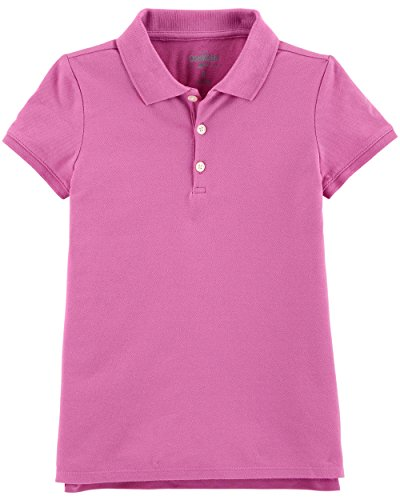 Osh Kosh Girls' Short Sleeve Uniform Polo, Purple, 8 (Girls Purple Uniform Shirt)