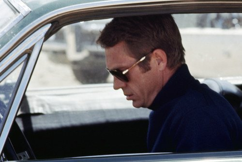 Steve McQueen in Bullitt iconic classic profile in Persol 0714 Sunglasses in Ford Mustang car cool 24x36 Poster