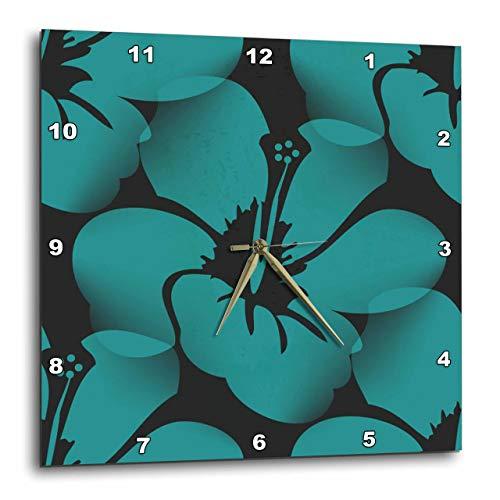 3dRose dpp_59872_2 Teal Blue Tropical Hibiscus Flowers Floral Art Hawaiian Wall Clock, 13 by 13-Inch