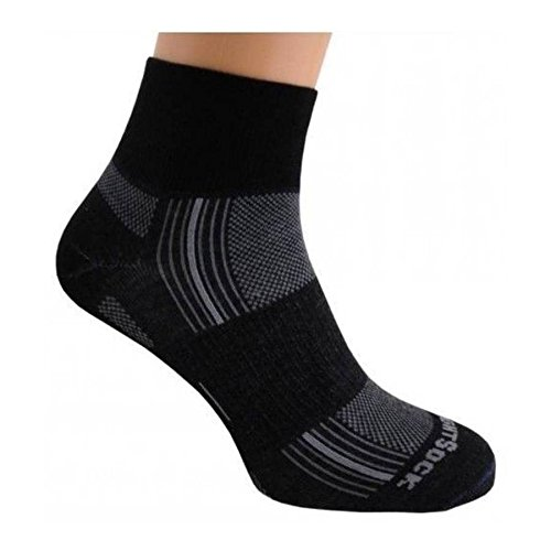 Wrightsock Double Layer Stride Quarter Socks-Black-XL