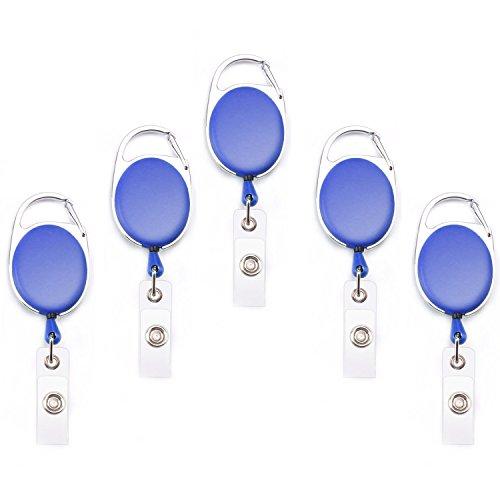 Fushing 5PCS Retractable Badge Holder Carabiner Reel Clip On ID Card Holders (Blue)