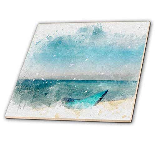 3dRose Anne Marie Baugh - Impressionist Mixed Media Art - Image Of Watercolor Blue Sea With Beached Boat Art - 6 Inch Glass Tile (ct_318665_6)