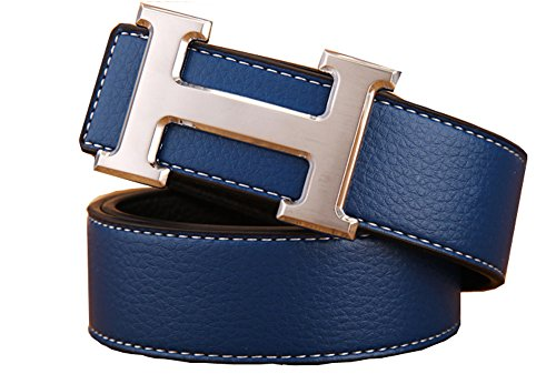 IGOBLIN Men's Business Casual H Word Deduction Leather Belt with Pin (Leather Covered Buckle Belt)