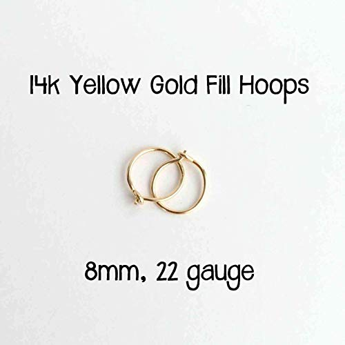 (8mm Hoop Earrings 14k Yellow Gold Fill Hoops 22 gauge Handmade)