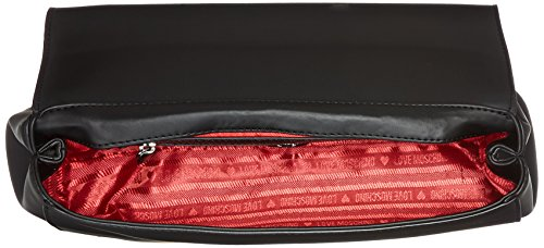 Love Moschino - Borsa Calf Pu Nero+tpu Peltro, Shoppers y bolsos de hombro Mujer, Mehrfarbig (Black Pu-pewter), 18x31x10 cm (B x H T)