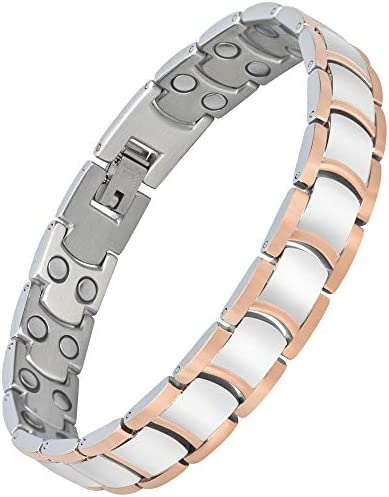 Magnetic Therapy Bracelets for Men Arthritis Pain Relief Double Row Magnets Titanium Steel Health Energy Magnet Bracelet Link,Adjustable with Free Link Removal Tool Abuzitos UK/_B075QXKV2Y