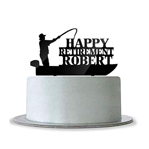 Custom Personalized Happy Retirement with Name Cake Topper Fishing Boat Fisherman Gone Fishing Black Acrylic Party Decor Ideas for Dad ()