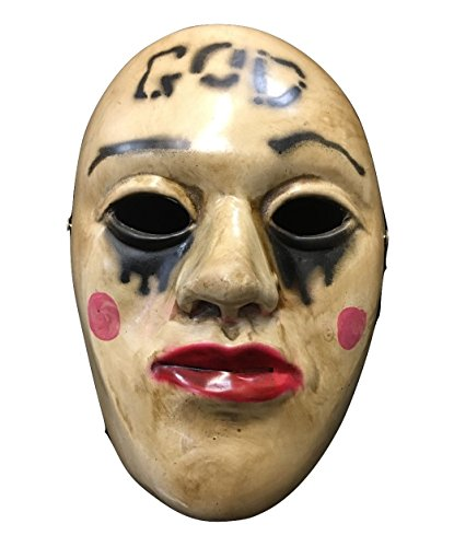 [The Purge Anachy 'God' Movie Halloween Mask Fibreglass Deluxe Cosplay Universal Size W/ Adjustable Buckle Strap] (Purge Costumes God)