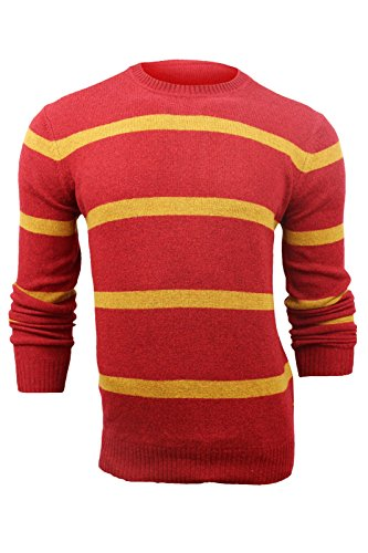 Ben Sherman Men's Red Yellow Striped Crew Neck Lambswool Sweater, M (Crewneck Sweater Striped Lambswool)
