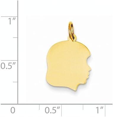 14k Plain Medium .027 Gauge Facing Right Engravable Girl Head Charm