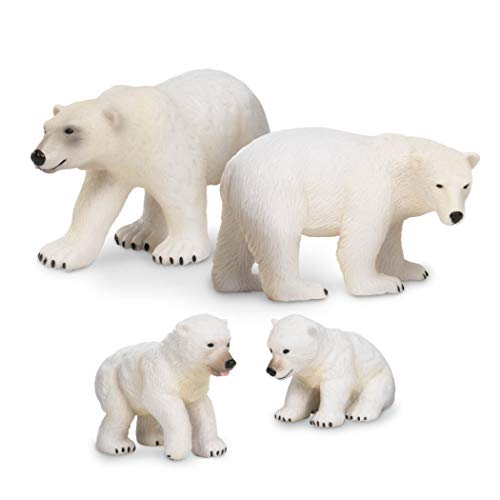 Terra by Battat - Polar Bear Family - Plastic Polar Bear Animal Toys for Kids 3-Years-Old & Up (4 Pc)