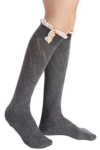 Socks Socks Soft Boot Lace Crochet Boot Gray Leg Long Warmer Bow Socks Womens Sexy w4pZB