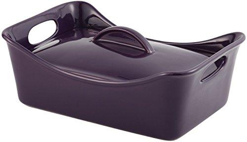 Rachael Ray Stoneware 3-1/2-Quart Covered Rectangle Lasagna Casserole, Purple
