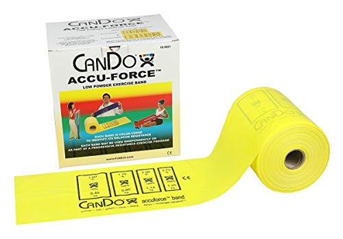 FEI 10-5921 Can-Do AccuForce Exercise Band Roll with Dispenser Box, X-Light, 50 yd. Length, Yellow