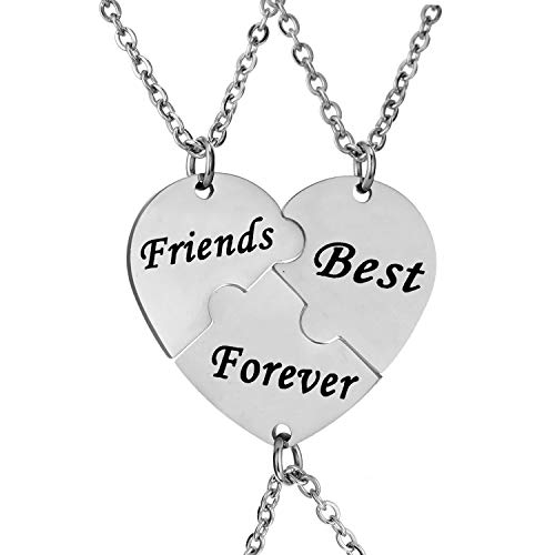 Friends Forever Heart - YeeQin 3PCS We Will Always Be Connected Keychain Set, Necklace Set, Best Friends Jewelry, Gift for Sisters (Best Friends Forever Matching Heart Necklace Set)