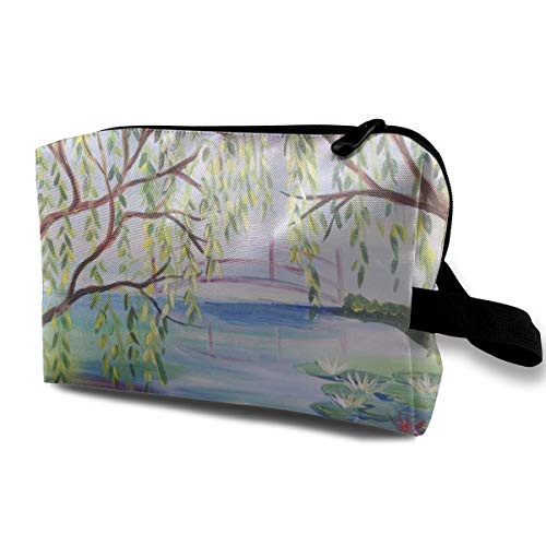 With Wristlet Cosmetic Bags Summer Pond Lotus And Willow Travel Portable Makeup Bag Zipper Wallet Hangbag