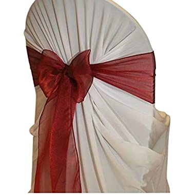 mds Pack of 100 Organza Chair Sashes Bow Sash for Wedding and Events Supplies Party Decoration Chair Cover sash -Maroon