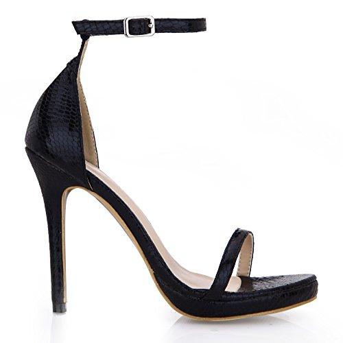 D'un Chaussures À Tempérament Et Serpent Champ De Peau Le Haut Noir Femme Talon Nouvelle Matures Avec La Black Sandales Or Des 1Caqw87