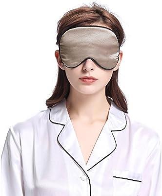 LILYSILK Antifaz para Dormir con Ribete 100% Seda Natural - Máscara del Sueño de Seda - Suave, Ligero, Transpirable, Anti-luz y Anti-arruguas, Color Café