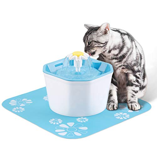 (PingPIN Cat Water Fountain, Flower Drinking Fountain 1.6L Pet Water Dispenser Super Quiet, Healthy and Hygienic Drinking Bowl with Fresh Clean Water for Cats, Dogs, Birds and Small Animals)