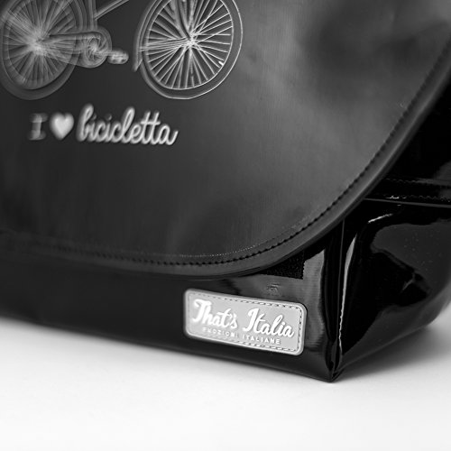 "Lenker-Fahrradtasche ""I love Bicicletta"" in schwarz, original That´s Italia Kollektion"