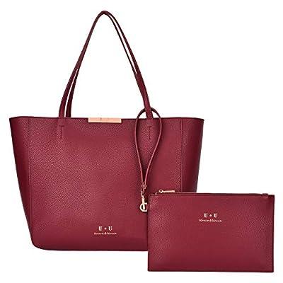 Large Tote Bags Leather Handbags - U+ U Shoulder Bag Top Handle Hobo Bag Shopping Women's Satchel Work fit 15.6 inch