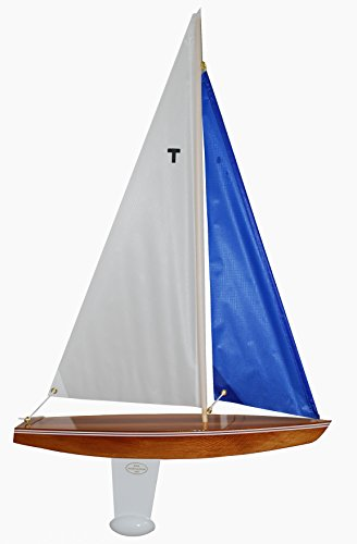 T15 Racing Sloop Finished (White/blue) -Sailing Model Sailboat, Not a Radio Control, Model Sailboats that Sail, Toy Sailboats that Float, Model Sailboat Wood, Model Sailboat Wooden - It Really Sails! (Model Sailboat White)
