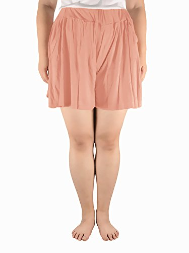 Azue Women's Plus Size Shirring Relieve Elastic Waist Cool Leisure Wear Mini Skirted Skorts with Pockets Pink 4XL (US Size: 1X Plus-3X Plus)