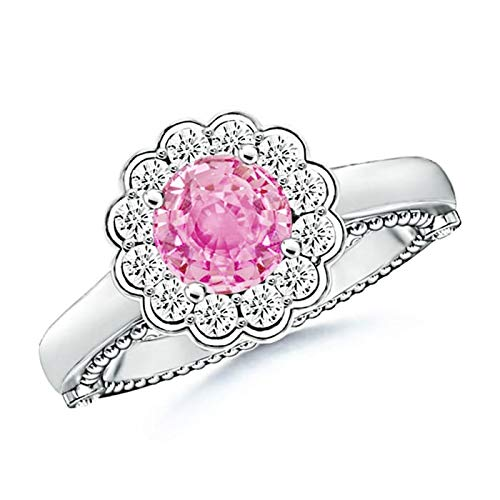 Vintage Inspired Pink Sapphire and Diamond Floral Ring in Platinum (6.5mm Pink - Sapphire Floral Ring Inspired