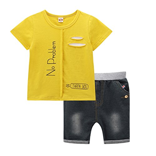 Little Boy Outfit, 2 PCS Kids Short Set 2017 New Print Tee and Jeans Shorts (2T, (Cheerleader Outfit Tumblr)