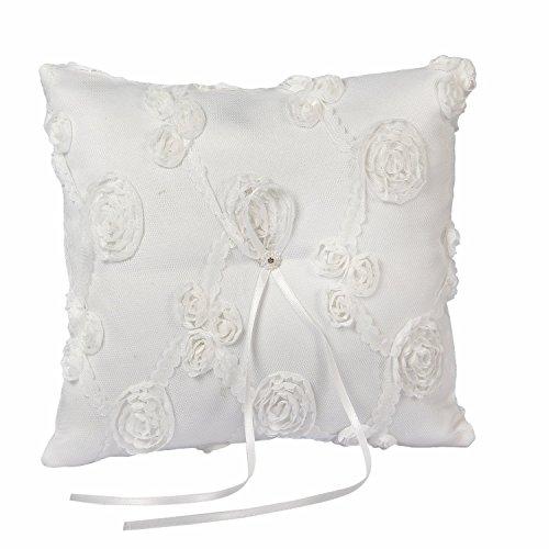 Somnr® Elegant Lace Ring Bearer Pillow for Wedding Party Prom (White) by Somnr