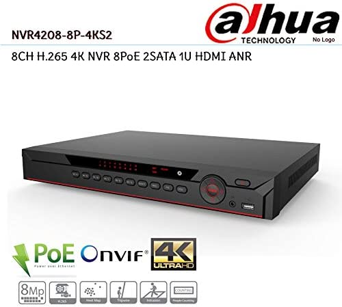 HDMI//VGA 200Mbps Recording Rate Embedded Linux Operating System Diamond NVR302A-08//8P-4KS2 Eight Channel 1U 8 PoE 4K /& H.265 Lite Network Video Recorder without Hard Drive