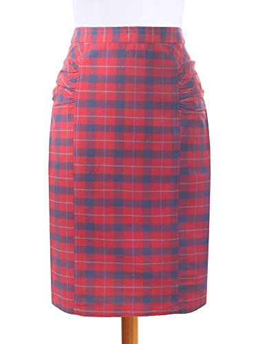 Panelled Pencil Skirt - Mata Tarders Panelled Pencil Skirt Red Size Small (4-6)