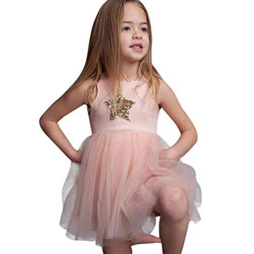 Toddler Kids Baby Girl Summer Casual Sleeveless Star Sequins Princess Lace Bubble Tull Dresses (2-3 Years, Pink)
