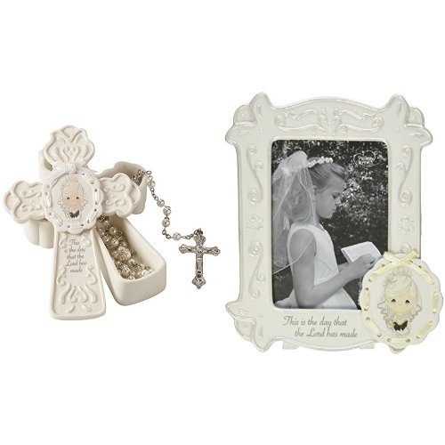 Communion Girl Figure - Precious Moments, Communion Gifts, This Is The Day The Lord Has Made Bisque Porcelain Box With White Faux Pearl Rosary and Photo Frame For Girl
