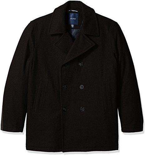 Nautica Men's Big and Tall Wool Peacoat, Black, 3XT